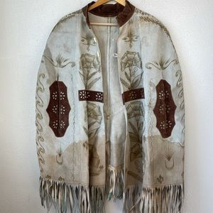 Hand Made Leather Floral Poncho EUC